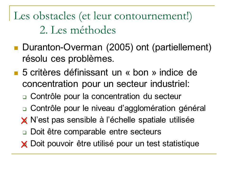 Les obstacles (et leur contournement!) 2. Les méthodes Duranton-Overman (2005) ont (partiellement) résolu ces problèmes. 5 critères définissant un « b