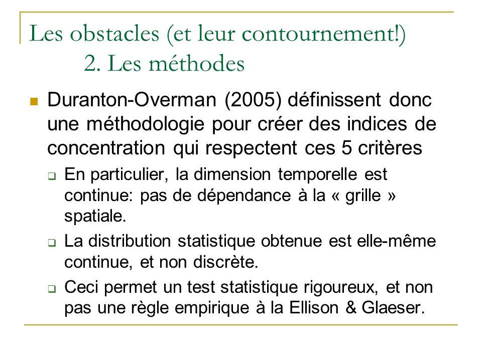 Les obstacles (et leur contournement!) 2. Les méthodes Duranton-Overman (2005) définissent donc une méthodologie pour créer des indices de concentrati