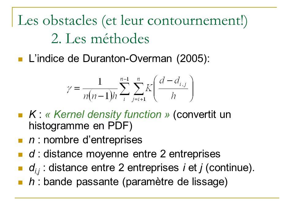 Les obstacles (et leur contournement!) 2. Les méthodes Lindice de Duranton-Overman (2005): K : « Kernel density function » (convertit un histogramme e
