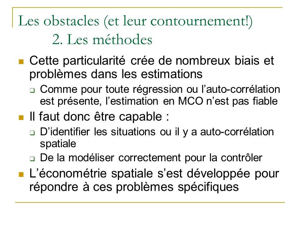 Les obstacles (et leur contournement!) 2. Les méthodes Cette particularité crée de nombreux biais et problèmes dans les estimations Comme pour toute r