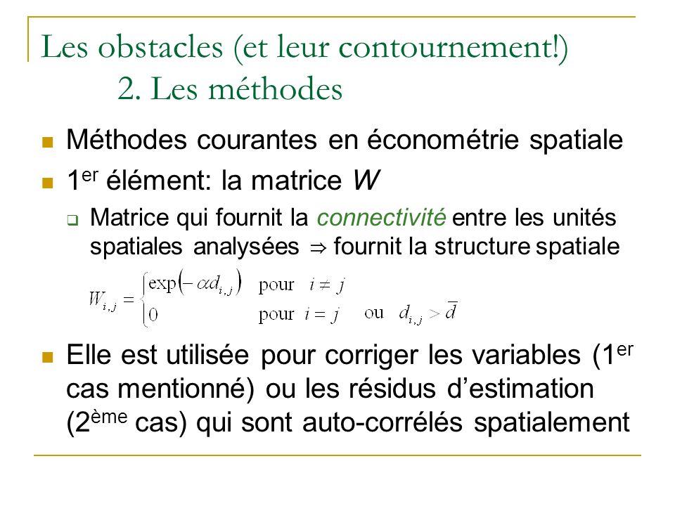 Les obstacles (et leur contournement!) 2. Les méthodes Méthodes courantes en économétrie spatiale 1 er élément: la matrice W Matrice qui fournit la co