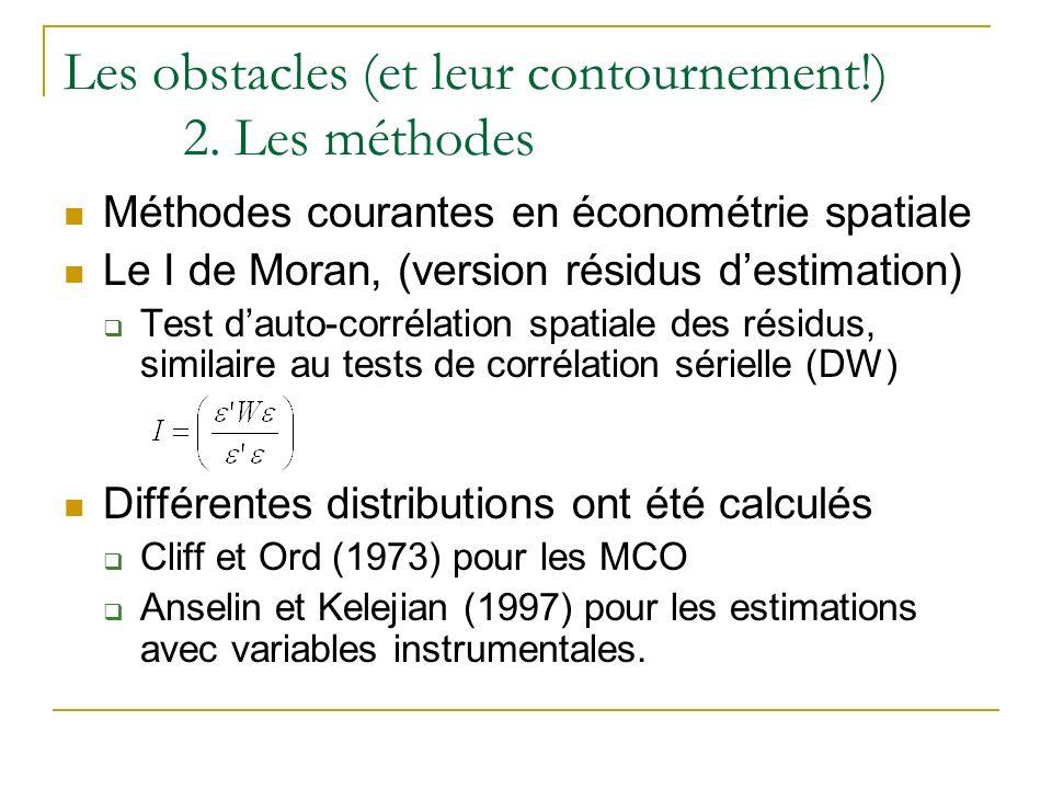 Les obstacles (et leur contournement!) 2. Les méthodes Méthodes courantes en économétrie spatiale Le I de Moran, (version résidus destimation) Test da