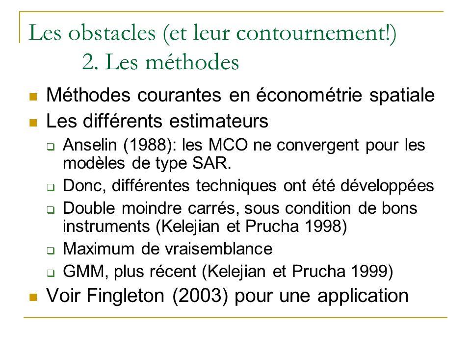 Les obstacles (et leur contournement!) 2. Les méthodes Méthodes courantes en économétrie spatiale Les différents estimateurs Anselin (1988): les MCO n