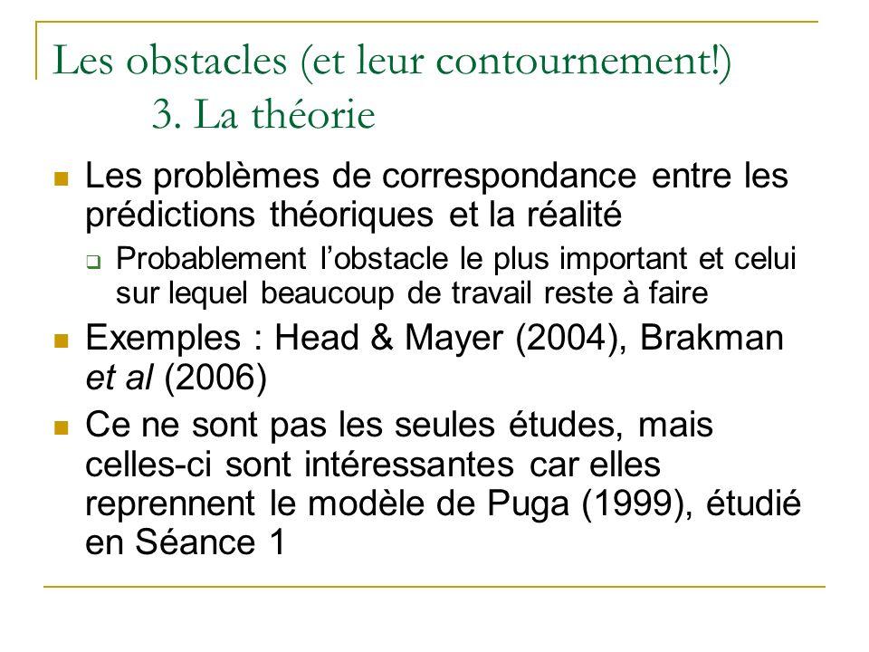 Les obstacles (et leur contournement!) 3. La théorie Les problèmes de correspondance entre les prédictions théoriques et la réalité Probablement lobst
