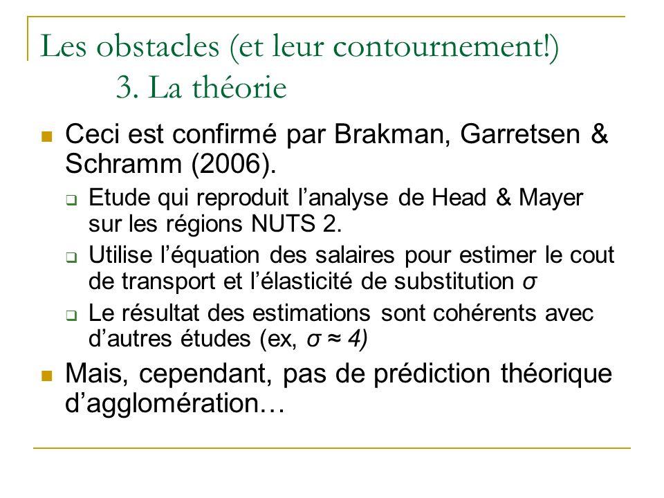 Les obstacles (et leur contournement!) 3. La théorie Ceci est confirmé par Brakman, Garretsen & Schramm (2006). Etude qui reproduit lanalyse de Head &