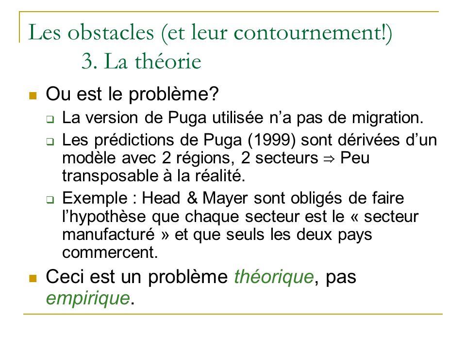 Les obstacles (et leur contournement!) 3. La théorie Ou est le problème? La version de Puga utilisée na pas de migration. Les prédictions de Puga (199