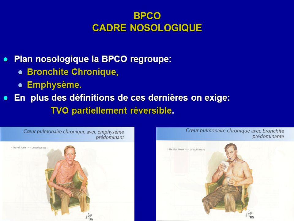 BPCO CADRE NOSOLOGIQUE Plan nosologique la BPCO regroupe: Plan nosologique la BPCO regroupe: Bronchite Chronique, Bronchite Chronique, Emphysème. Emph