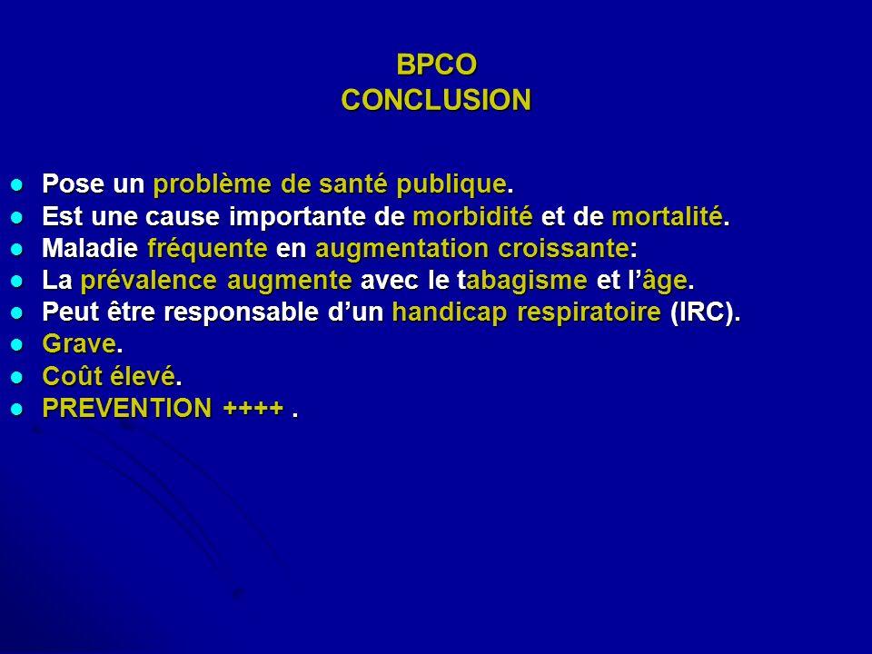 BPCO CONCLUSION Pose un problème de santé publique. Pose un problème de santé publique. Est une cause importante de morbidité et de mortalité. Est une