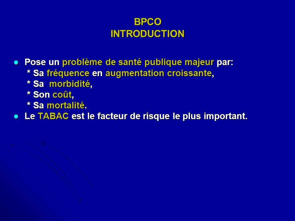 BPCO INTRODUCTION Pose un problème de santé publique majeur par: Pose un problème de santé publique majeur par: * Sa fréquence en augmentation croissa