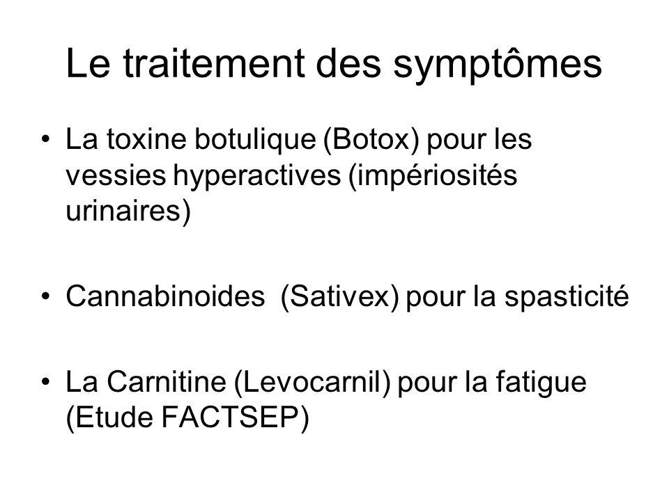 Le traitement des symptômes La toxine botulique (Botox) pour les vessies hyperactives (impériosités urinaires) Cannabinoides (Sativex) pour la spastic