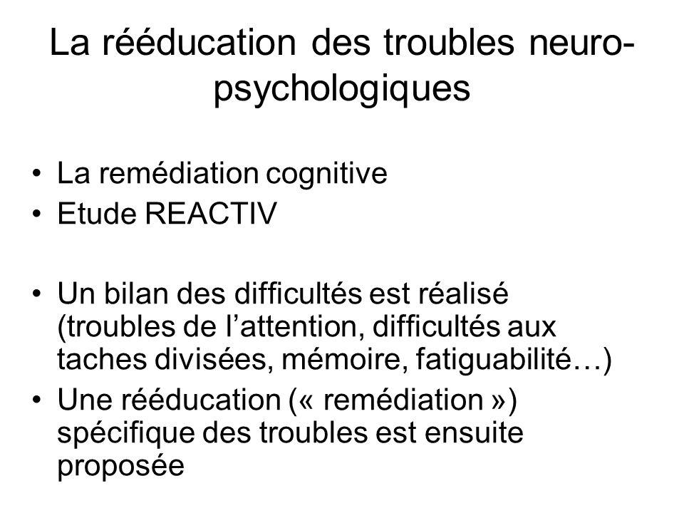 La rééducation des troubles neuro- psychologiques La remédiation cognitive Etude REACTIV Un bilan des difficultés est réalisé (troubles de lattention,