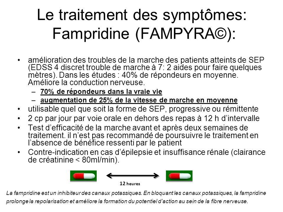 Le traitement des symptômes La toxine botulique (Botox) pour les vessies hyperactives (impériosités urinaires) Cannabinoides (Sativex) pour la spasticité La Carnitine (Levocarnil) pour la fatigue (Etude FACTSEP)