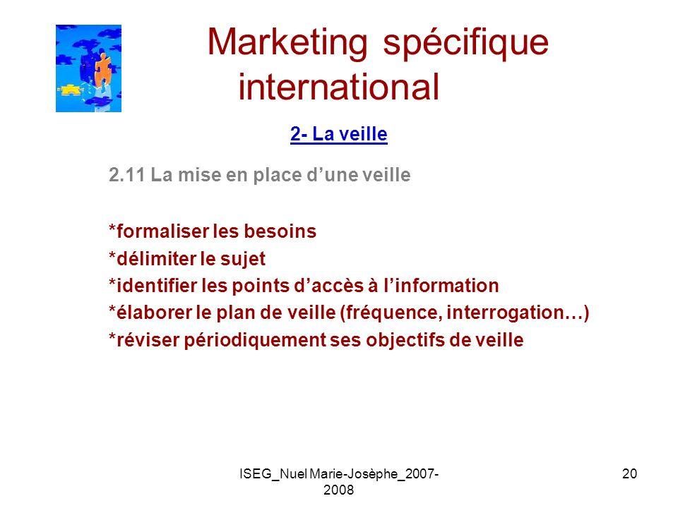 ISEG_Nuel Marie-Josèphe_2007- 2008 20 Marketing spécifique international 2- La veille 2.11 La mise en place dune veille *formaliser les besoins *délim