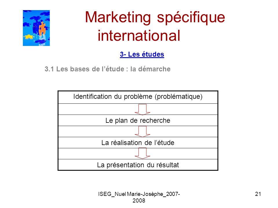 ISEG_Nuel Marie-Josèphe_2007- 2008 21 Marketing spécifique international 3- Les études 3.1 Les bases de létude : la démarche Identification du problèm