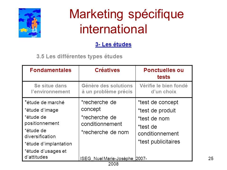 ISEG_Nuel Marie-Josèphe_2007- 2008 25 Marketing spécifique international 3- Les études 3.5 Les différentes types études FondamentalesCréativesPonctuel