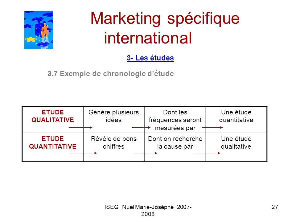 ISEG_Nuel Marie-Josèphe_2007- 2008 27 Marketing spécifique international 3- Les études 3.7 Exemple de chronologie détude ETUDE QUALITATIVE Génère plus