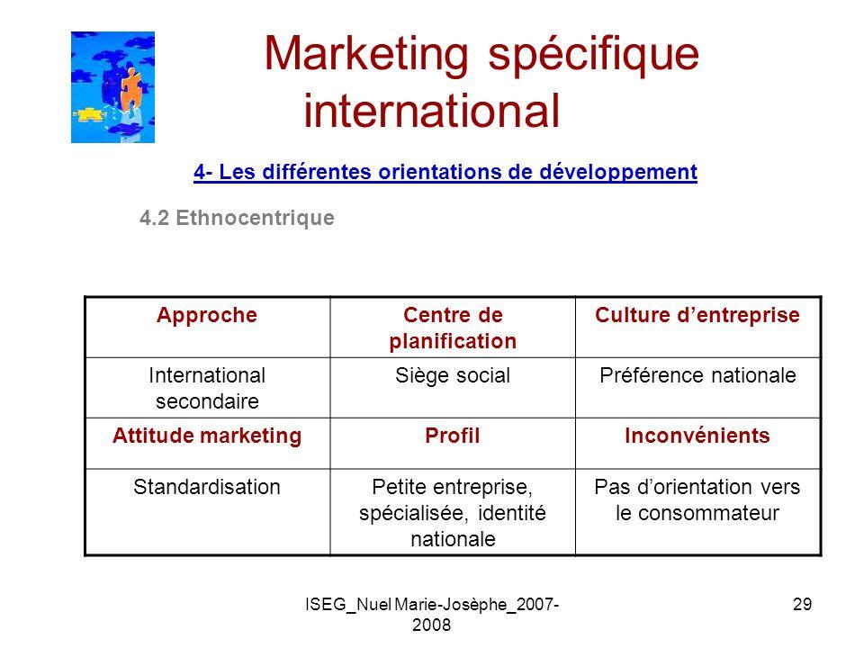 ISEG_Nuel Marie-Josèphe_2007- 2008 29 Marketing spécifique international 4- Les différentes orientations de développement 4.2 Ethnocentrique ApprocheC