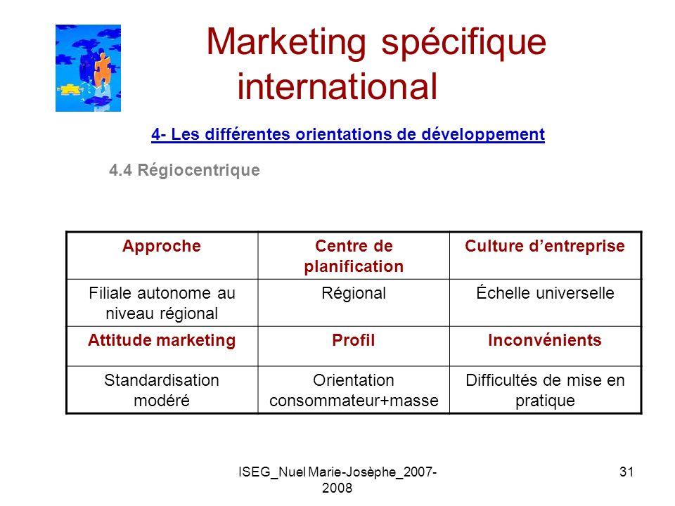 ISEG_Nuel Marie-Josèphe_2007- 2008 31 Marketing spécifique international 4- Les différentes orientations de développement 4.4 Régiocentrique ApprocheC