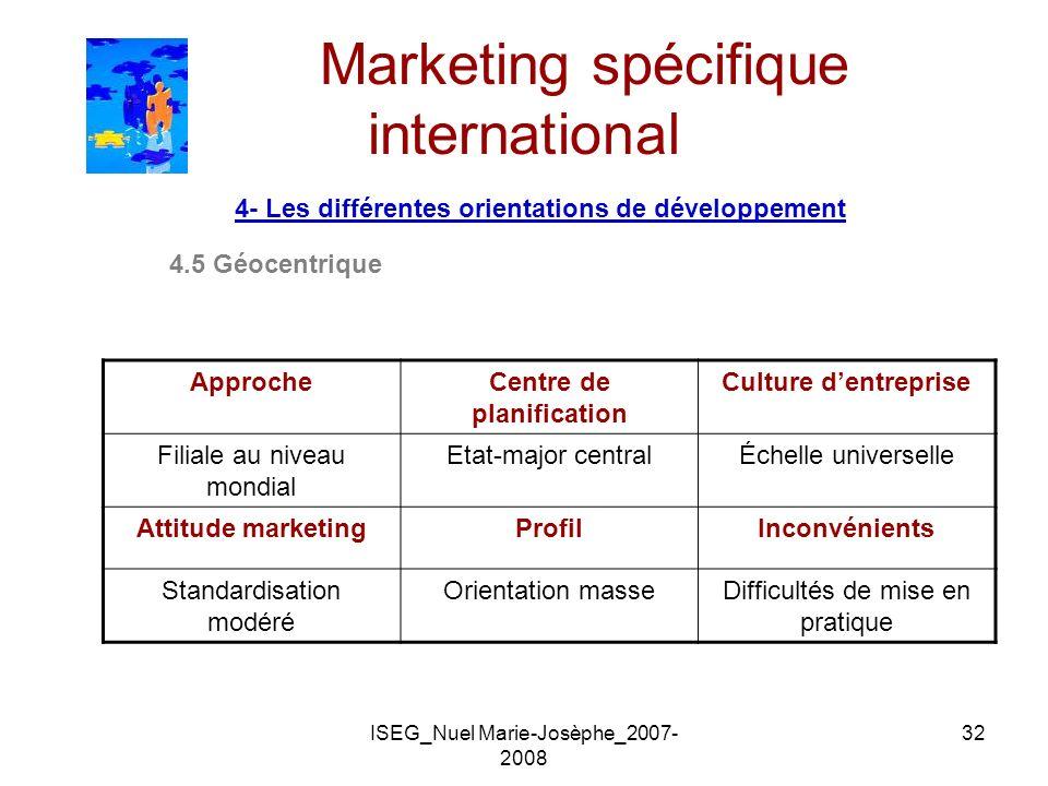 ISEG_Nuel Marie-Josèphe_2007- 2008 32 Marketing spécifique international 4- Les différentes orientations de développement 4.5 Géocentrique ApprocheCen