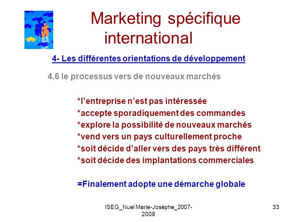 ISEG_Nuel Marie-Josèphe_2007- 2008 33 Marketing spécifique international 4- Les différentes orientations de développement 4.6 le processus vers de nou