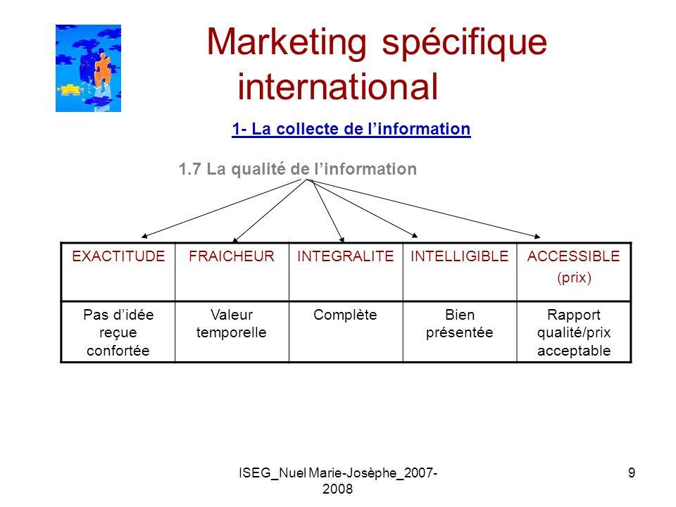ISEG_Nuel Marie-Josèphe_2007- 2008 9 Marketing spécifique international 1- La collecte de linformation 1.7 La qualité de linformation EXACTITUDEFRAICH