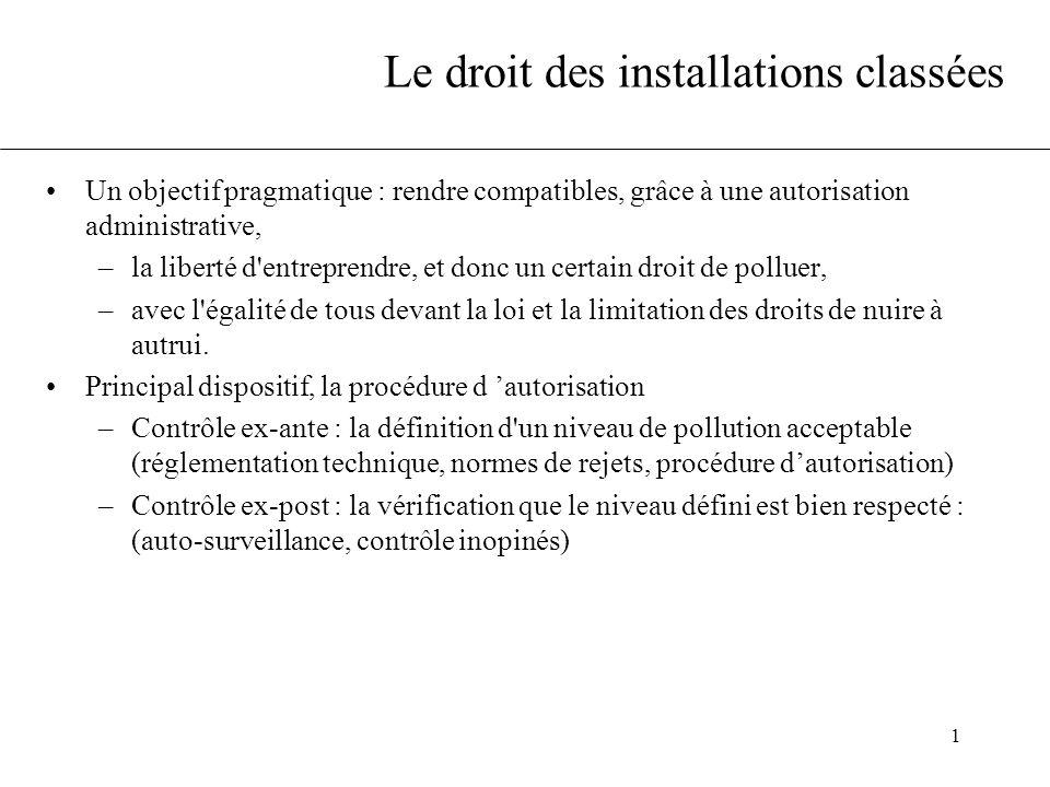 1 Le droit des installations classées Un objectif pragmatique : rendre compatibles, grâce à une autorisation administrative, –la liberté d'entreprendr