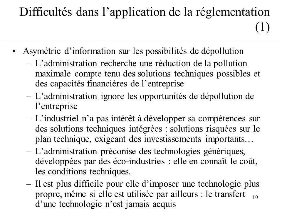 10 Difficultés dans lapplication de la réglementation (1) Asymétrie dinformation sur les possibilités de dépollution –Ladministration recherche une ré