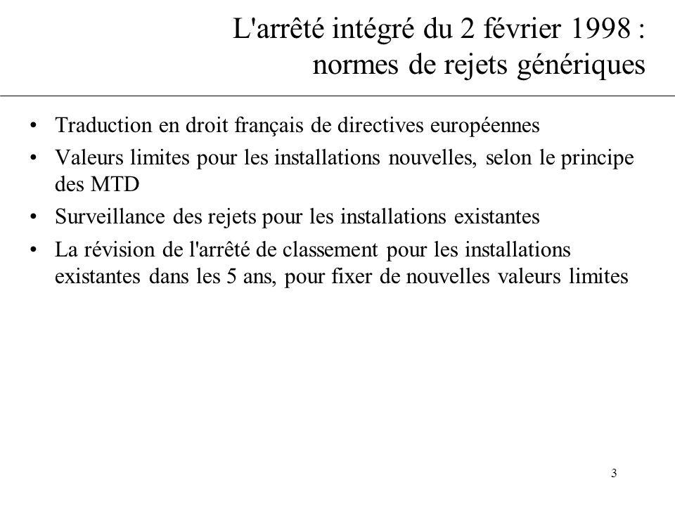 3 L'arrêté intégré du 2 février 1998 : normes de rejets génériques Traduction en droit français de directives européennes Valeurs limites pour les ins