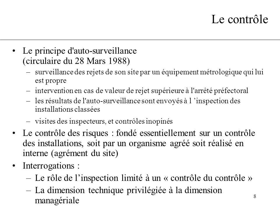 8 Le contrôle Le principe d'auto-surveillance (circulaire du 28 Mars 1988) –surveillance des rejets de son site par un équipement métrologique qui lui