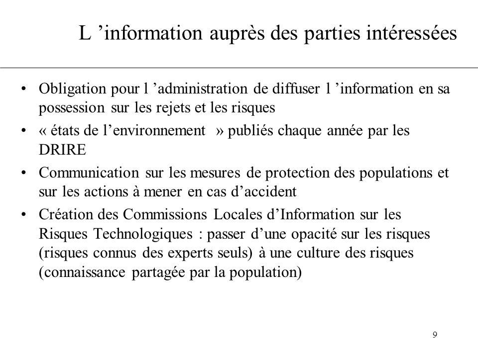 9 L information auprès des parties intéressées Obligation pour l administration de diffuser l information en sa possession sur les rejets et les risqu