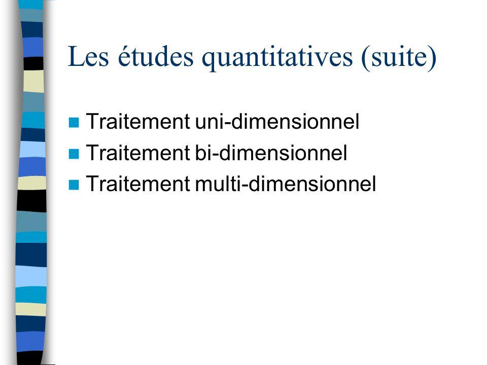 Les études quantitatives (suite) Traitement uni-dimensionnel Traitement bi-dimensionnel Traitement multi-dimensionnel