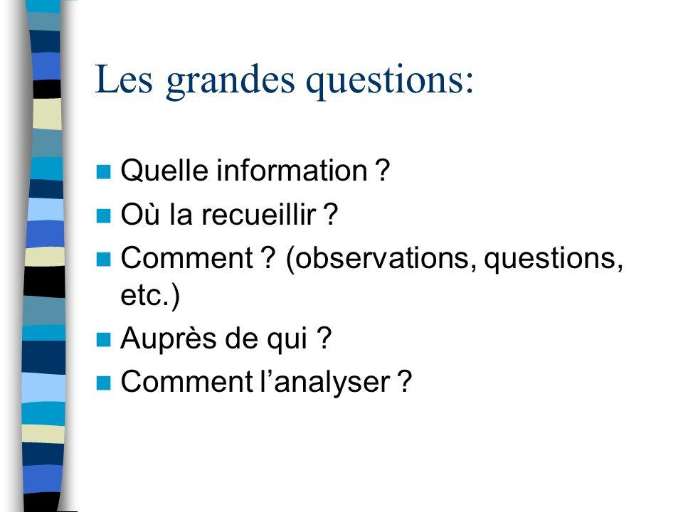 Les grandes questions: Quelle information ? Où la recueillir ? Comment ? (observations, questions, etc.) Auprès de qui ? Comment lanalyser ?