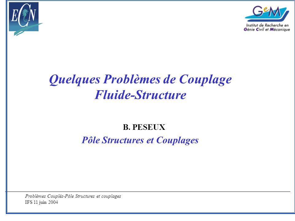 Problèmes Couplés-Pôle Structures et couplages IFS 11 juin 2004 Code Structure : SAMCEF (Méthode des éléments finis) -Couplage Faible : Réponse de la structure -Couplage Fort : base modale Code Hydrodynamique : AQUADYN (Méthode des singularités) -Calcul de la raideur hydrostatique -Calcul des coefficients de masse et amortissement ajoutés -Calcul des efforts dus à la houle Couplage Projection sur le maillage élément fini Collaborations : LMF, Multiplast (Jet Service V, Clubmed, Orange,..), Banque Populaire
