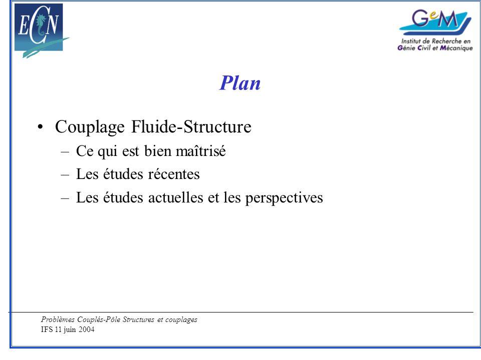 Problèmes Couplés-Pôle Structures et couplages IFS 11 juin 2004 Plan Couplage Fluide-Structure –Ce qui est bien maîtrisé –Les études récentes –Les étu