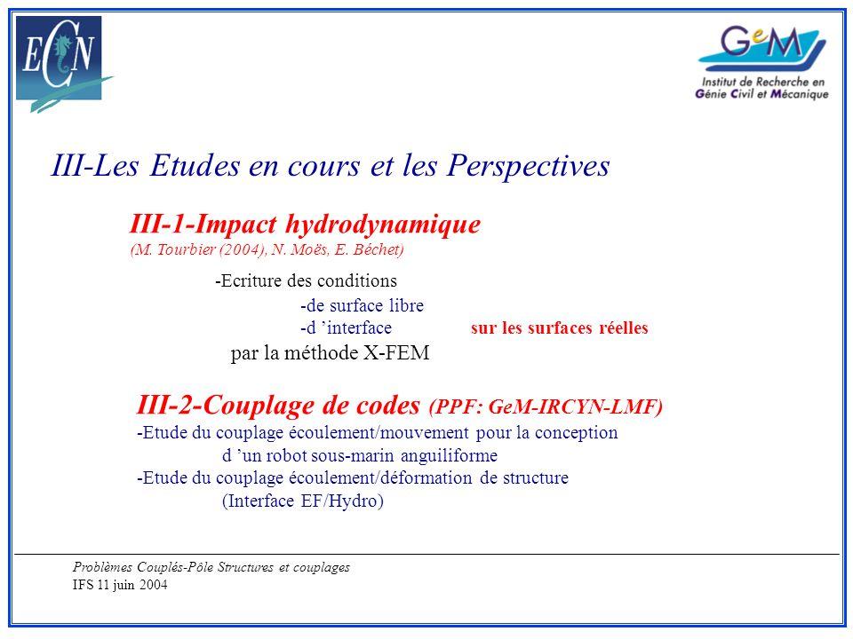 Problèmes Couplés-Pôle Structures et couplages IFS 11 juin 2004 III-Les Etudes en cours et les Perspectives III-1-Impact hydrodynamique (M. Tourbier (