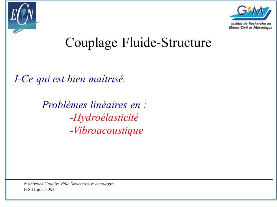 Problèmes Couplés-Pôle Structures et couplages IFS 11 juin 2004 Couplage Fluide-Structure I-Ce qui est bien maîtrisé. Problèmes linéaires en : -Hydroé