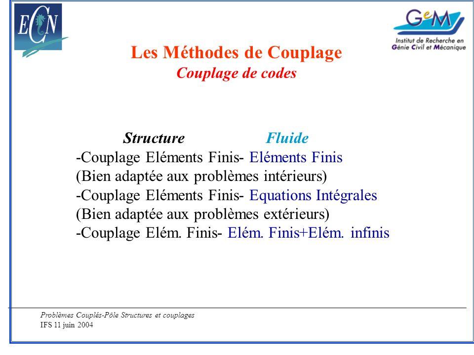 Problèmes Couplés-Pôle Structures et couplages IFS 11 juin 2004 Les Méthodes de Couplage Couplage de codes StructureFluide -Couplage Eléments Finis- E