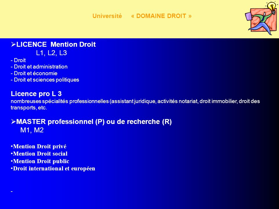 Université « DOMAINE DROIT » LICENCE Mention Droit L1, L2, L3 - Droit - Droit et administration - Droit et économie - Droit et sciences politiques Lic