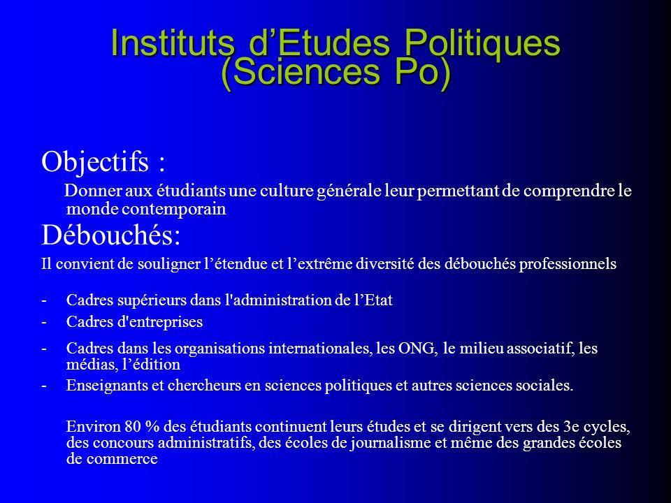 Instituts dEtudes Politiques (Sciences Po) Objectifs : Donner aux étudiants une culture générale leur permettant de comprendre le monde contemporain D