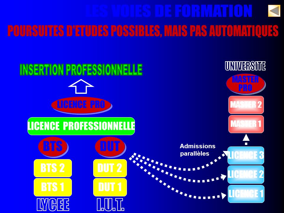 LICENCE 1 LICENCE PRO Admissions parallèles LICENCE 2 BTS 1 BTS 2 DUT 1 DUT 2 BTS LICENCE 3 MASTER 1 MASTER 2 DUT MASTER PRO MASTER PRO LICENCE PROFES