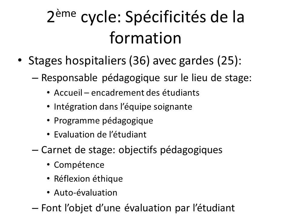 2 ème cycle: Spécificités de la formation Stages hospitaliers (36) avec gardes (25): – Responsable pédagogique sur le lieu de stage: Accueil – encadre