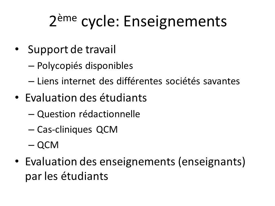 2 ème cycle: Enseignements Support de travail – Polycopiés disponibles – Liens internet des différentes sociétés savantes Evaluation des étudiants – Q