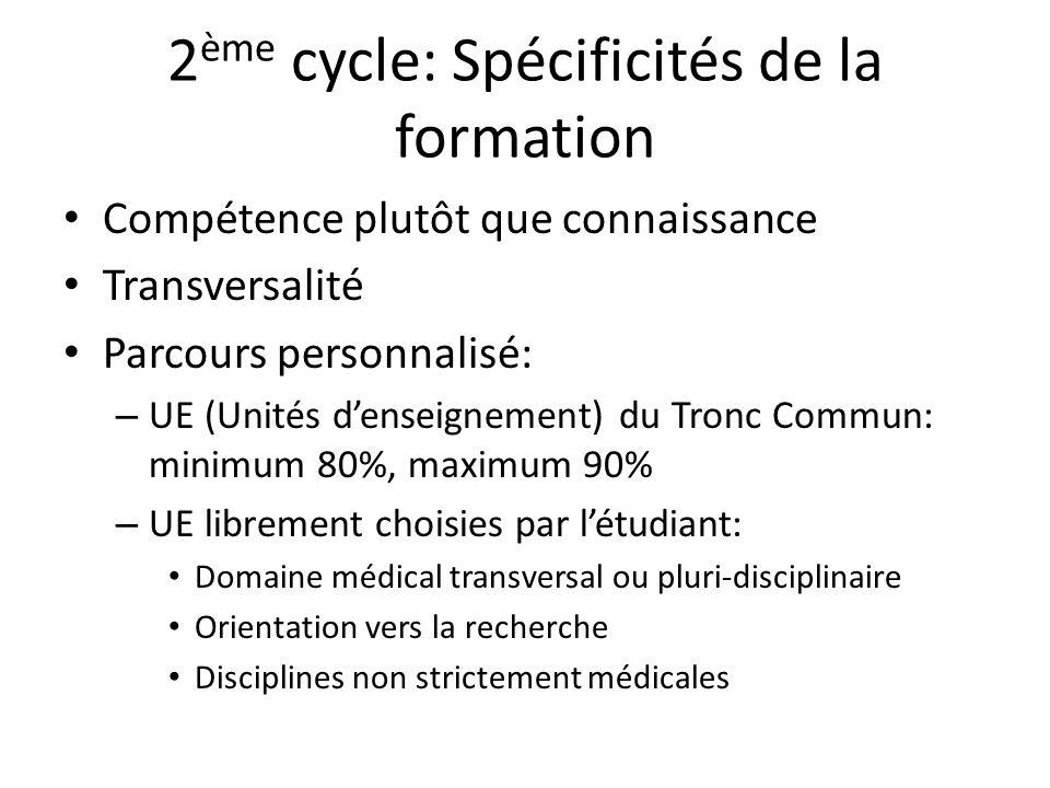 2 ème cycle: Spécificités de la formation Compétence plutôt que connaissance Transversalité Parcours personnalisé: – UE (Unités denseignement) du Tron