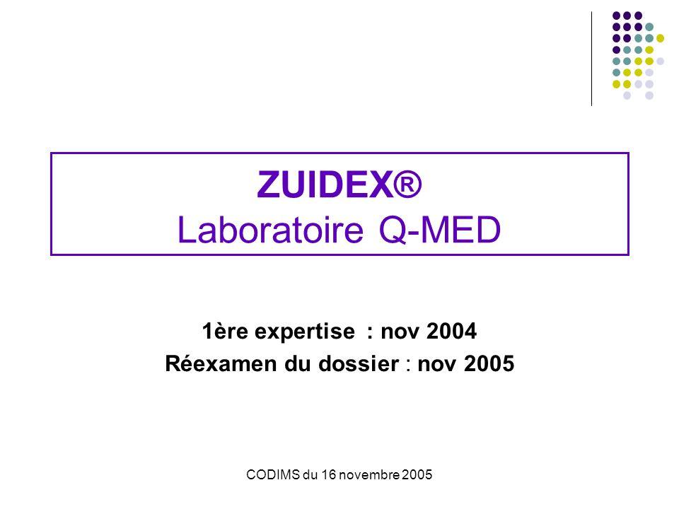 CODIMS du 16 novembre 2005 ZUIDEX® Laboratoire Q-MED 1ère expertise : nov 2004 Réexamen du dossier : nov 2005
