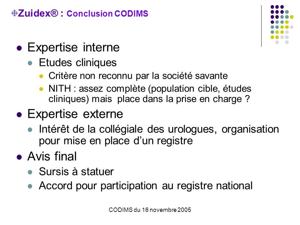 CODIMS du 16 novembre 2005 Zuidex® : Conclusion CODIMS Expertise interne Etudes cliniques Critère non reconnu par la société savante NITH : assez complète (population cible, études cliniques) mais place dans la prise en charge .
