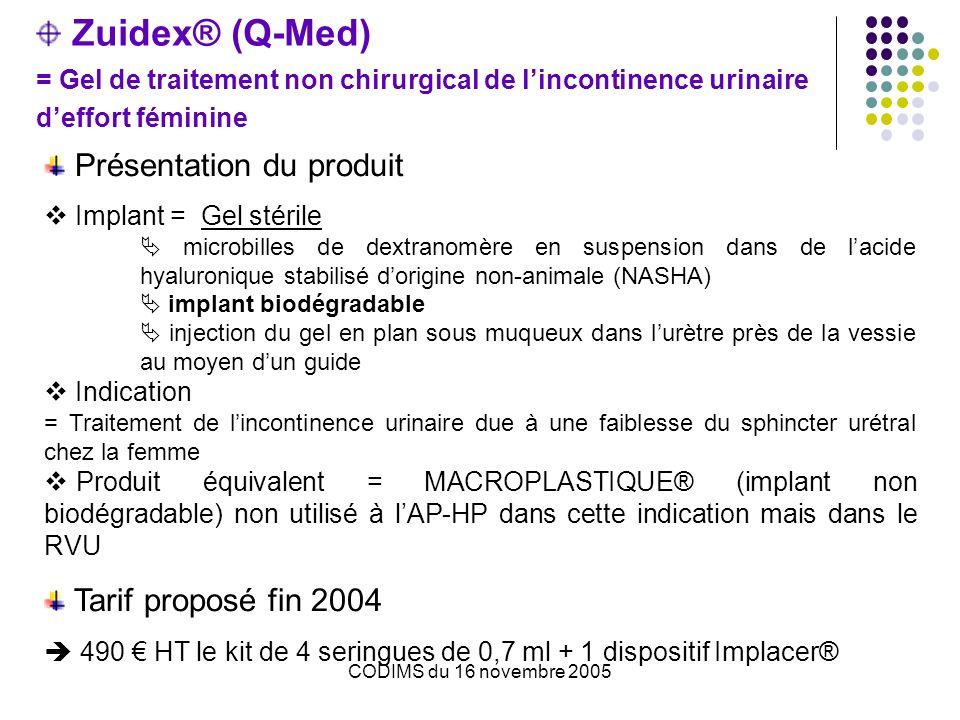 CODIMS du 16 novembre 2005 Zuidex® (Q-Med) = Gel de traitement non chirurgical de lincontinence urinaire deffort féminine Présentation du produit Implant = Gel stérile microbilles de dextranomère en suspension dans de lacide hyaluronique stabilisé dorigine non-animale (NASHA) implant biodégradable injection du gel en plan sous muqueux dans lurètre près de la vessie au moyen dun guide Indication = Traitement de lincontinence urinaire due à une faiblesse du sphincter urétral chez la femme Produit équivalent = MACROPLASTIQUE® (implant non biodégradable) non utilisé à lAP-HP dans cette indication mais dans le RVU Tarif proposé fin 2004 490 HT le kit de 4 seringues de 0,7 ml + 1 dispositif Implacer®