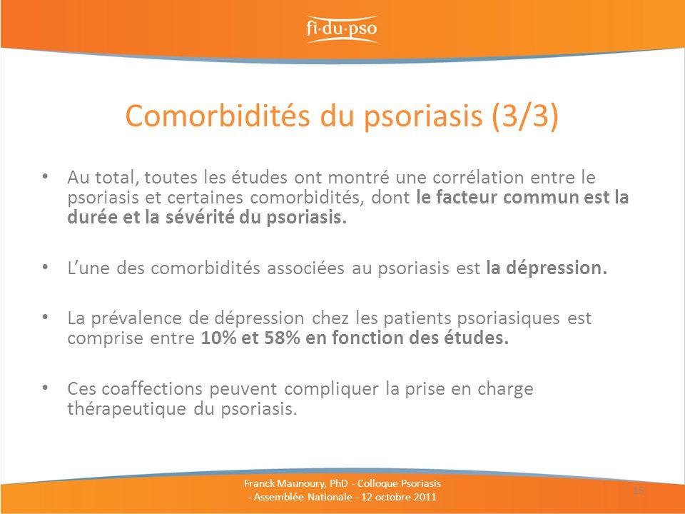 Au total, toutes les études ont montré une corrélation entre le psoriasis et certaines comorbidités, dont le facteur commun est la durée et la sévérit