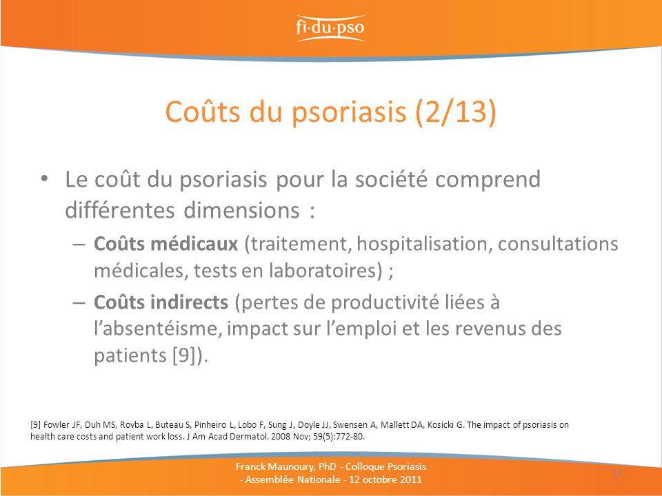 Le coût du psoriasis pour la société comprend différentes dimensions : – Coûts médicaux (traitement, hospitalisation, consultations médicales, tests e