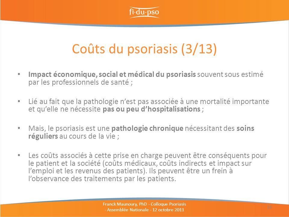 Impact économique, social et médical du psoriasis souvent sous estimé par les professionnels de santé ; Lié au fait que la pathologie nest pas associé