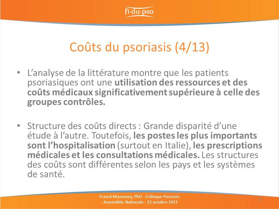 Lanalyse de la littérature montre que les patients psoriasiques ont une utilisation des ressources et des coûts médicaux significativement supérieure